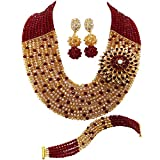 aczuv 10 Layers Multi Strands Statement Necklace Nigerian Wedding African Beads Jewelry Set Crystal Beaded Bridal Party Jewelry Sets for Women Girls (Wine Champagne Gold AB)