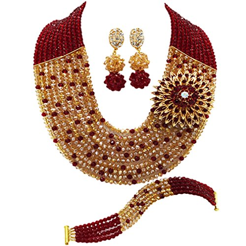 aczuv 10 Layers Multi Strands Statement Necklace Nigerian Wedding African Beads Jewelry Set Crystal Beaded Bridal Party Jewelry Sets for Women Girls (Wine Champagne Gold AB) by aczuv