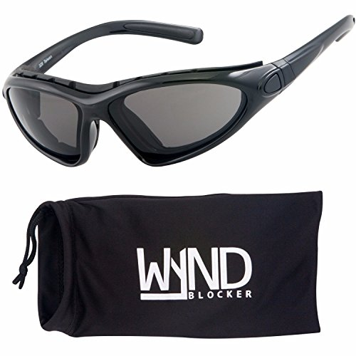 WYND Blocker Vert Motorcycle & Boating Sports Wrap Around Polarized Sunglasses (Black / Smoke - Motorcycle Sunglasses