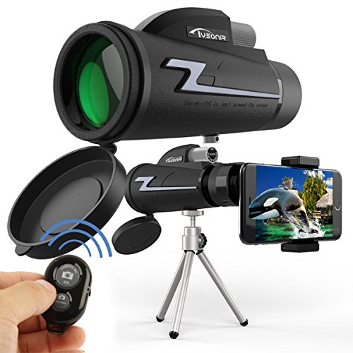 Monocular Telescope, Waterproof 16x50 High Power BAK4 Prism FMC Lens with Tripod Camera Remote Control and Quick Smartphone Holder for Travel,Concert,Sports, etc.