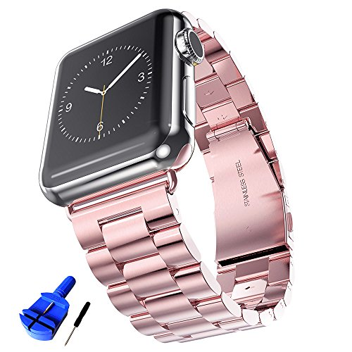 (HUANLONG Latest Solid Stainless Steel Metal Replacement Watchband Bracelet with Double Button Folding Clasp for Apple Watch, iWatch, Rose Gold, 38 mm)