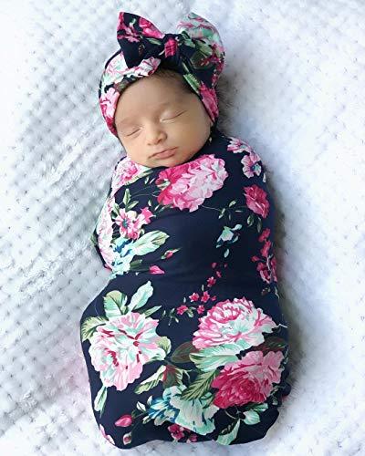Mummyhug Baby Receiving Blanket Newborn Wrap Floral Printed Swaddle Headband Set ()