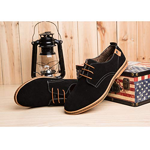 Gtagain Daim Noir Richelieus Casual Lace Business Homme Oxfords Chaussures Lacets Appartements Up De Confortable Derby Fourrure doublé qWnU4qrfw