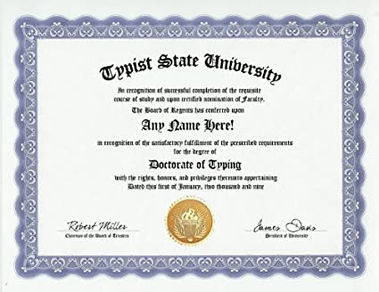 Amazon.com: Typist Typing Degree: Custom Gag Diploma Doctorate ...