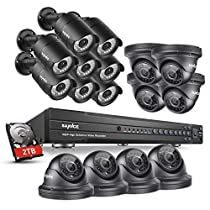 SANNCE HD-TVI 1080P Outdoor Surveillance Systems 16 Channel DVR Recorder with 2TB Hard Drive and (8) Dome Cameras Motion + (8) Bullet Cameras Motion Detection Email Alert