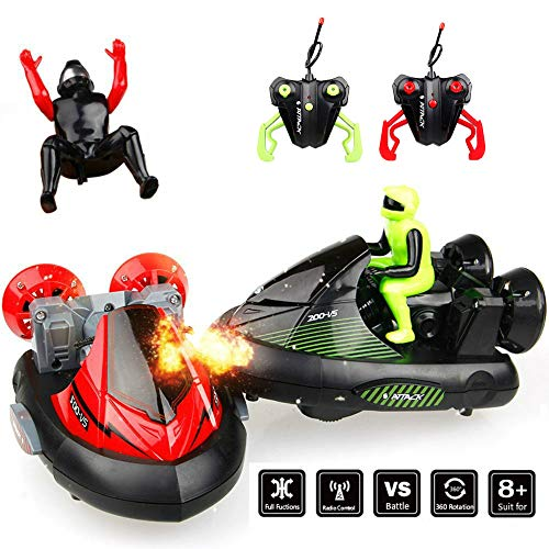 Blexy Remote Control Car Pack of 2 RC Bumper Car Stunt Electric Battle Racing Vehicles with Ejectable Drivers Speed Electric Trucks with Ejectable Drivers Red/Green for Kids Toy from SZJJX