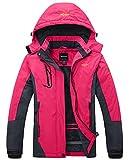 Wantdo Women's Waterproof Mountain Jacket Fleece Outdoor Coat US XL  Rose Red X-Large