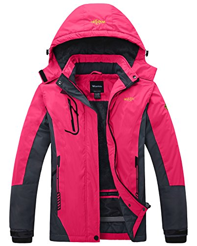 (Wantdo Women's Waterproof Mountain Jacket Fleece Windproof Ski Jacket , Large, Rose Red)