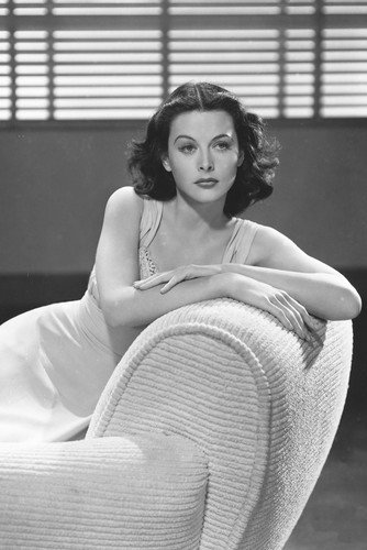 hedy lamarr glamour pose seated on couch