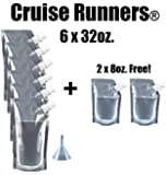 CRUISE RUNNERS Brand Ship Kit Flask 8 Pack Sneak Alcohol Runner Rum Liquor Smuggle Booze Gift (6x32 oz. + 2x8oz.)