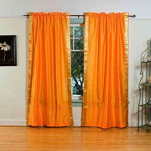 Pumpkin 84-inch Rod Pocket Sheer Sari Curtain Panel (India) - Piece (Sari Curtains Drapes Panels)