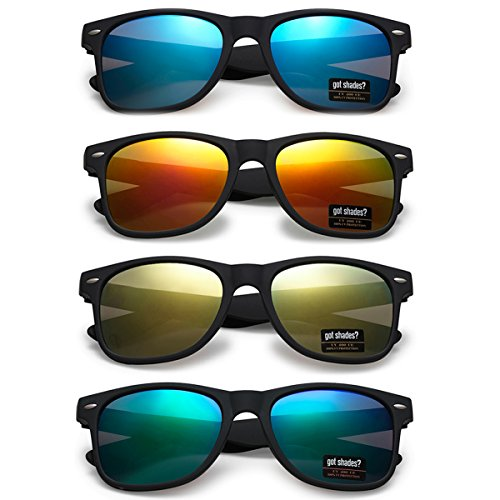 WHOLESALE UNISEX 80'S RETRO STYLE TRENDY SUNGLASSES - 4 PACK (Matte Black | Color Mirrors, 52) by Got Shades