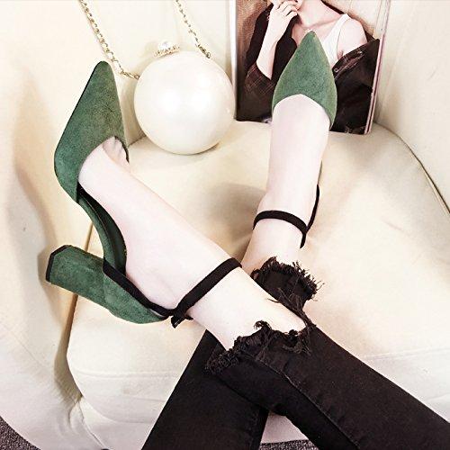 Verde Sandali Parola Sola Con In Una Tacco Alto Con Scarpe Femmina 8Cm9 GAOLIM Estate wI6O1pq1