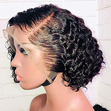 Amazon Com 13x6 Short Wig Curly Brazilian Remy Hair 130 Lace Front Wigs Human Hair Wigs Glueless With Baby Hair 8 Inch Lace Front Wig Beauty