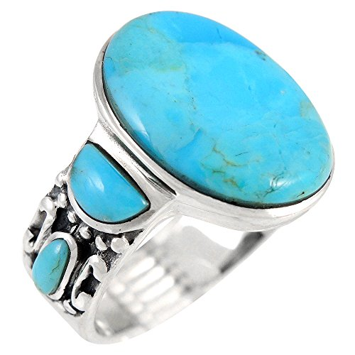 Turquoise Rings Sterling Silver 925 Genuine Turquoise SELECT COLOR