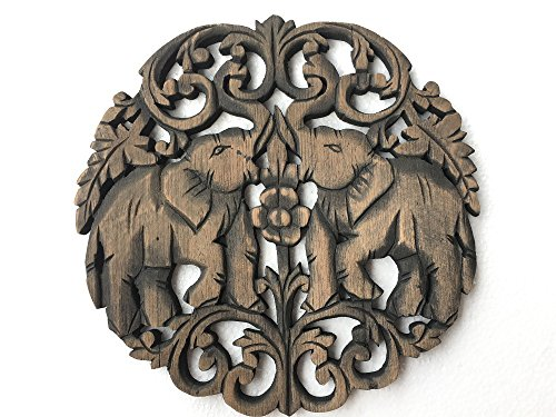 Thai Elephant Duo Teak Wood Relief Panel Wall Art Decor, Elephant Wall Art - Fair Trade Handicraft by Thai Artisans, (Black Wash),By WADSUWAN SHOP. (Teak Shop)