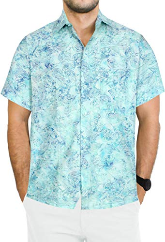 LA LEELA Tropical Shirt for Men Front Pocket M| Chest 40