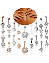 3-16 Pcs 14G Stainless Steel Dangle Belly Button Rings Navel Barbell Body Jewelry Piercing