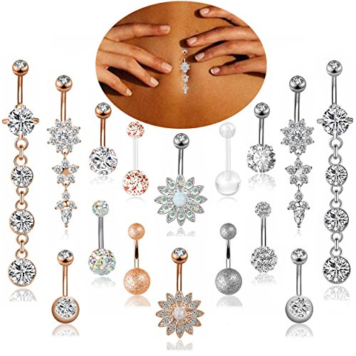 Stainless Steel Dangle Belly Button Rings Navel Barbell Body Jewelry Piercing (C:16 Psc) ()