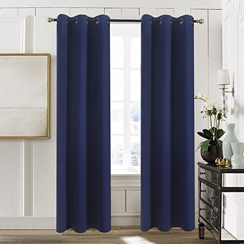 Bedroom Blackout Window Curtain Panels - Aquazolax Grommets Blackout Curtains 42x84 Plain Window Treatment Drapery for Nursery, 2 Panels, Navy Blue
