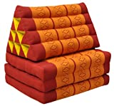 Thai mattress 3 folds with triangle cushion, red/orange, relaxation, beach, pool, meditation garden (81003)