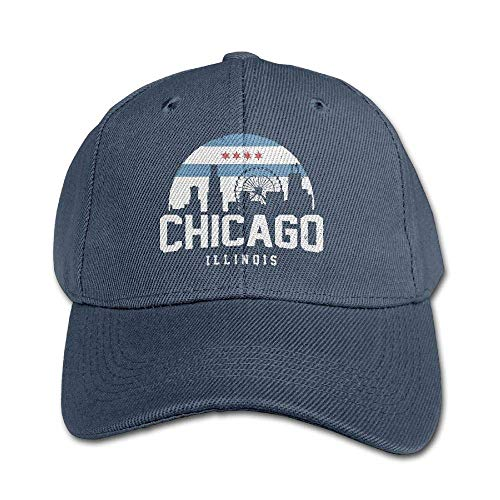 Chicago City Flag Skyline USA Kids Adjustable Snapback Curved Visor Washed Dyed Cotton Ball Hat Toddler Trucker Hats Navy