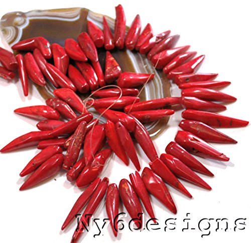 Bamboo Coral Beads - 23x6x5mm-40x8x6mm Red Sea Bamboo Coral Chili Beads 15