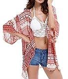 Rokou Summer Womens Beach Wear Cover up Swimwear Beachwear Bikini Beach Dress Cover-ups Boho Chiffon Kimono Cardigan (Red)