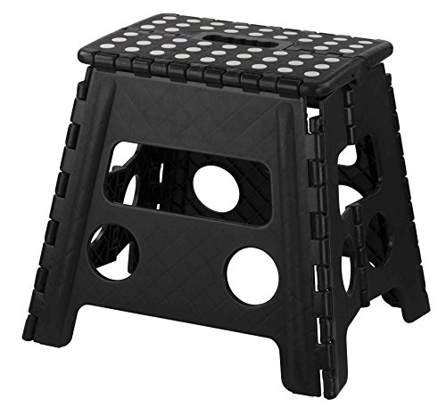 Home Basics Folding Stool with Non Slip Grip Dots and Carrying Handle, Black (Large) by Home Basics