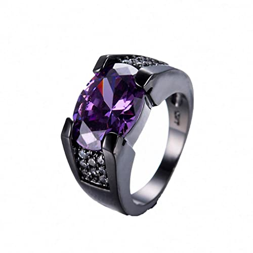Purple And Black Wedding Rings | Womens Mens Ring Gorgeous Male Female Finger Ring Purple Oval Cz