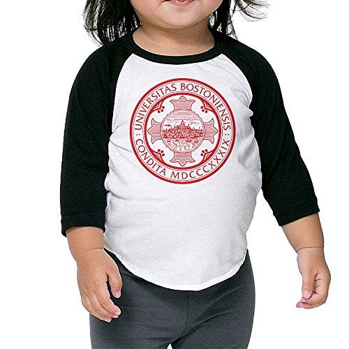 MAYOYIAII Boston University Logo 3/4 Sleeve Raglan Baseball T Shirts For Kids Black (Buck Suede Shirt)