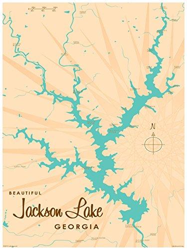 Jackson Lake Georgia Vintage-Style Map Art Print Poster by Lakebound (18