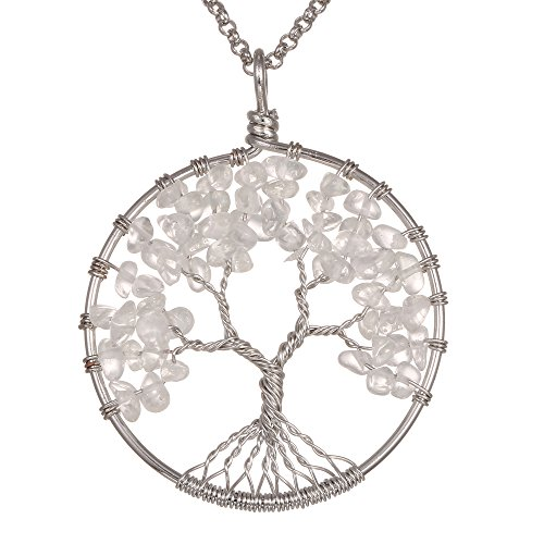 Gemstone Necklace Pendant Tree of Life, BRCbeads Clear Quartz Crystal Healing Point Reki Chakra Unisex Stainless Steel Chain 20 Inch ()