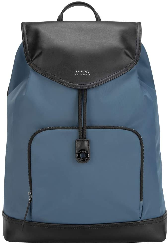 Targus Newport Drawstring Travel and Commute Backpack, Sleek Professional Design with Water-Repellent Nylon, Magnetic Secure Closure, Protective Sleeve fits 15-Inch Laptop, Blue (TSB96403GL)