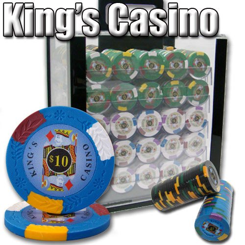 (Brybelly 1,000 Ct Kings Casino Poker Set - 14g Clay Composite Chips with Acrylic Display Case for Casino Games)