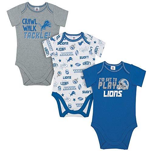 NFL Detroit Lions Unisex-Baby 3-Pack Short Sleeve Bodysuits, Blue, 3-6 Months