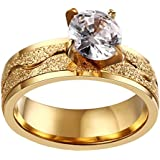 PAURO Women's 316l Stainless Titanium Steel Gold Sandblasting Four Prong with Zirconia Ring for Wedding Size 8
