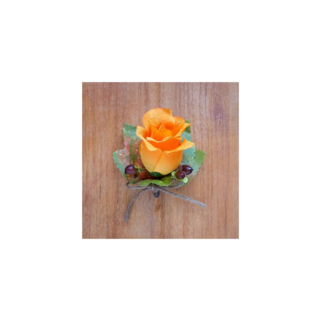 4-pcs-Orange-Silk-Rose-Bud-Boutonniere-with-Fall-Leaves-and-Berries-Wedding-Flowers-by-BalsaCircle
