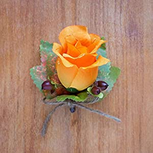 4 pcs Orange Silk Rose Bud Boutonniere with Fall Leaves and Berries - Wedding Flowers by BalsaCircle 1