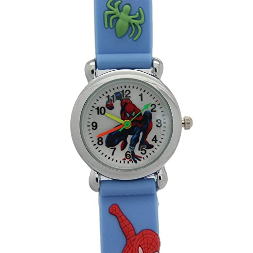 Children's Watches 3d Rubber Strap Children Watch Kids Spider Shape Fashion Quartz Blue Wristband Boys Girls Students 2018 New Cartoon Sports Clock