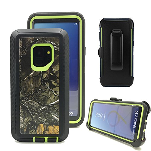 Harsel Triple Layer Camouflage Defender Series High Impact Resistant Hybrid Rugged Hard Bumper Soft TPU Silicone Covers Cases with Belt Clip Holster for Samsung Galaxy S9