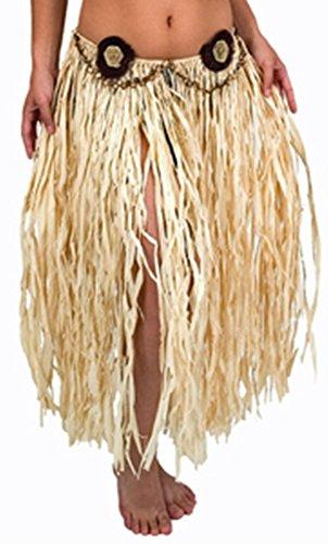 [Raffia Hula Skirt with Pandan Rose Decorations] (Hawiian Costumes)