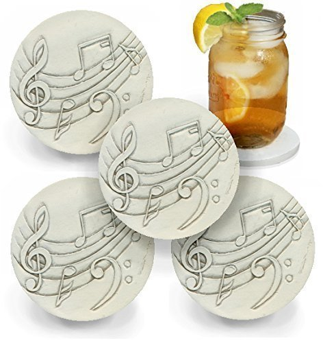 Drink Coasters by McCarter Coasters, Music, Absorbent, Light Beige 4.25 inch (4pc)
