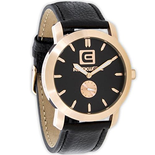 Rockwell Time Cartel Black Leather Strap/ Rose Gold Dial Watch by Rockwell Time