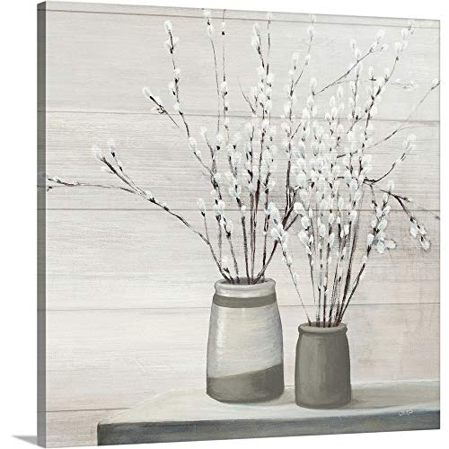 Pussy Willow Still Life Gray Pots Shiplap Canvas Wall Art Print, 16
