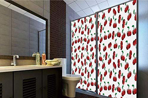 """Horrisophie dodo 3D Privacy Window Film No Glue,Fruits,Vibrant Cherries Vitamin Agriculture Exotic Summer Garden Pattern,Ruby Hunter Green Coconut,70.86"""" H x 23.62"""" W for Home&Office"""