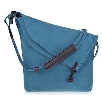 Vbiger Casual Canvas Crossbody Messenger Shouder Bag (Blue)