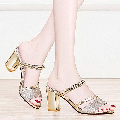 Slippers For Women Sandals Heels CN38 UK5 Size for EU38 Women Casual Fashion Chunky Heel Evening High 5 Shoes HAIZHEN Gold shoes Color Gold Wedding PrSAPF