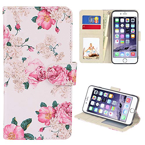 iPhone 6s Case, iPhone 6 Case, UrSpeedtekLive Premium PU Leather Funny Pattern Flip Wallet Case Cover w/Card Slots & Stand Compatible iPhone 6/6s 4.7 Inch, Flower 2