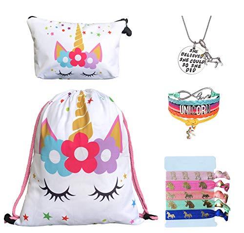 Unicorn Gifts for Girls - Unicorn Drawstring Backpack/Makeup Bag/Bracelet/Inspirational Necklace/Hair Ties (White Star Unicorn)